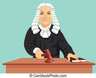 Angry judge makes verdict for law knocking gavel isolated on blue background
