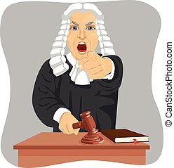 Angry judge yelling and pointing his finger at someone...