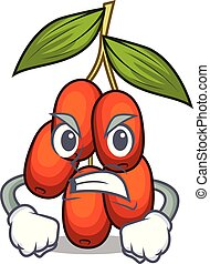 Angry jujube fruit in the shape mascot vector illustration