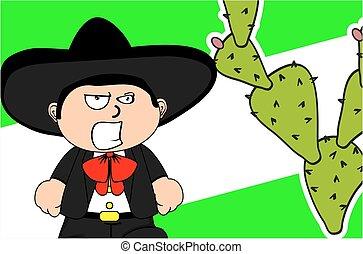 angry kid mexican mariachi cartoon