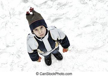 Angry kid on snow