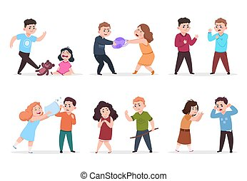 Angry kids. Bad boys and girls confronting and bullying smaller children. Bad behavior kid vector characters