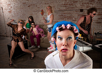 1970s Disco Music Party - Angry lady in bathrobe crashing a...