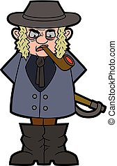 Angry landowner - Illustration cartoon country gentleman...