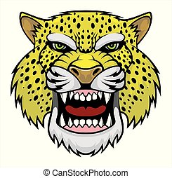 Angry leopard head.