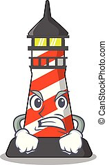 Angry lighthouse on the beach mascot