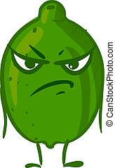 Angry lime fruit, illustration, vector on white background.