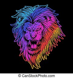 angry lion colorful illustration