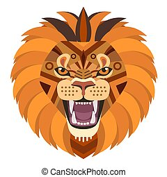 Angry lion head Logo. Vector decorative Emblem.