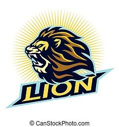Angry Lion Head Logo Vector Mascot Design