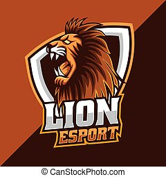 Angry Lion head mascot logo template