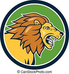 Angry Lion Head Roar Circle Cartoon