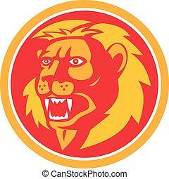 Angry Lion Head Roar Circle Retro