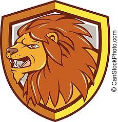 Angry Lion Head Roar Shield Cartoon