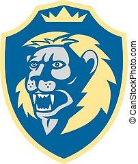 Angry Lion Head Roar Shield Retro