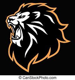 Angry Lion Head Roaring Esport Mascot Logo Vector Icon Design