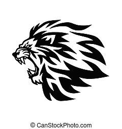 Angry Lion Head Roaring Logo Template. Vector Line Art Illustration
