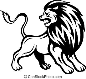 Angry lion in heraldic style. Vector illustration