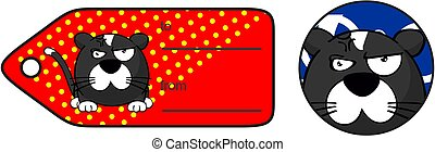 angry little cat ball cartoon expression giftcard - funny...
