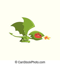 Angry little dragon breathing fire. Green fairy tale creature with large wings and long tail. Cartoon flat vector design for mobile app icon, computer game or sticker