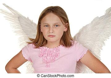 angry little fairy angel girl