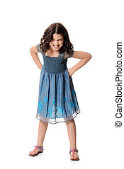 angry little girl in blue dress