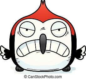 Angry Little Woodpecker - A cartoon illustration of a...