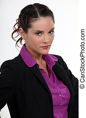 Angry looking businesswoman