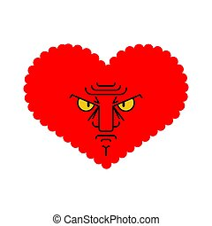 Angry love. Evil heart. Dissatisfied amur. Vector illustration