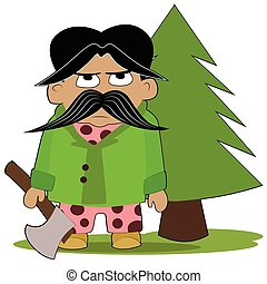 Angry lumberjack holding an axe