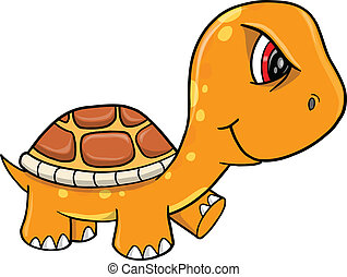 Angry Mad Orange Turtle Vector
