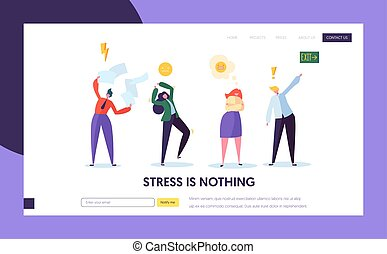 Angry Male and Female Character Making Public Scandal Concept Landing Page. Group of Sad People Quarrel and Swear. Aggressive Behavior Website or Web Page. Flat Cartoon Vector Illustration