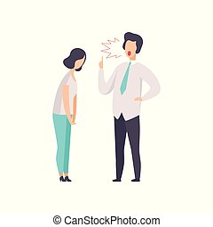 Angry male boss yelling at female employee vector Illustration isolated on a white background