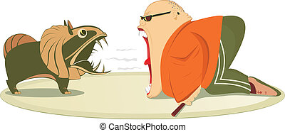Angry man and dog