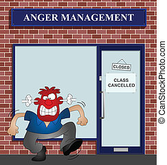 Angry man at the anger management help centre