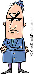 angry man cartoon illustration - Cartoon Illustration of...
