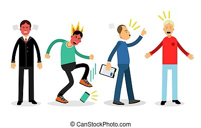 Angry Man Characters Standing and Shouting Vector Illustration Set