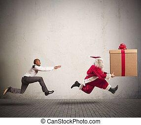 Angry man chasing Santa Claus - Running angry man chasing...