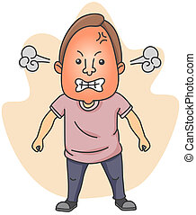 Angry Man - Illustration of a Man Fuming with Anger