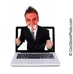 Angry man coming out from laptop