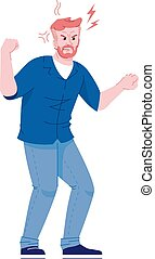 Angry man flat vector illustration. Male aggression, ...