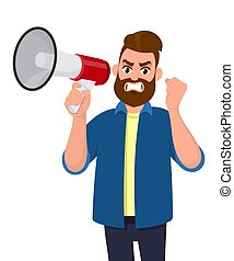Angry man holding a megaphone or loudspeaker and raising hand fist gesture. Rage businessman screaming very loud. Human emotion and body language concept illustration in vector cartoon flat style.