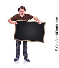 angry man holding blackboard