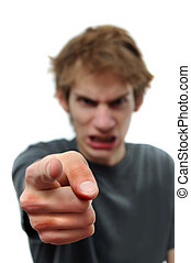 Angry man pointing the finger at you