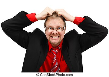 Angry man pulling his hair - Stressed angry man pulling his...