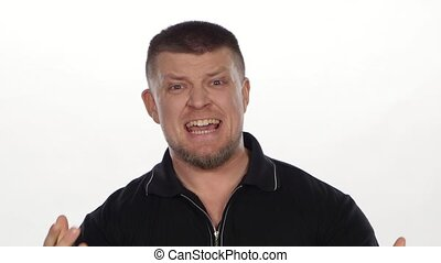 Angry man screaming and yelling. White
