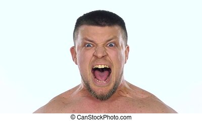 Angry man screaming. White. Slow motion