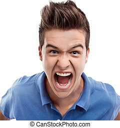 Angry man shouting - Angry young man looking straight...
