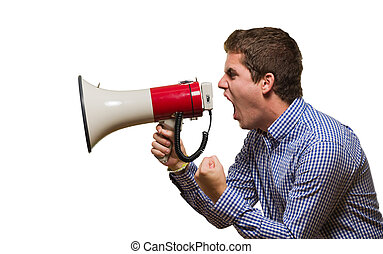 Angry Man Shouting On Megaphone against a white background