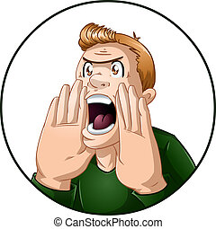 A vector illustration of an angry guy shouting.